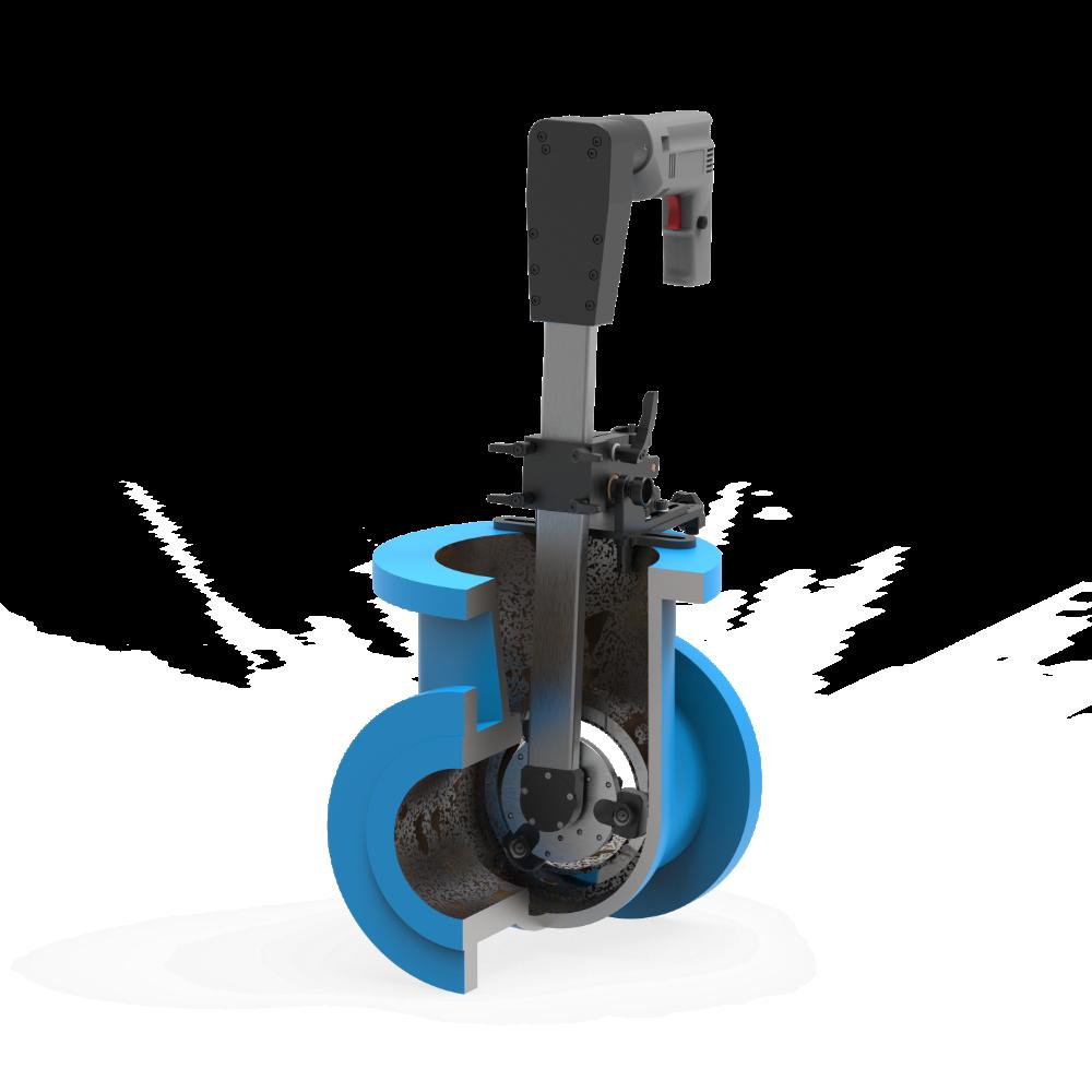 Станок переносной для шлифования и притирки уплотнительных поверхностей клиновых задвижек DN 40-150 мм ПОБЕДИТ-СПМ-1-150